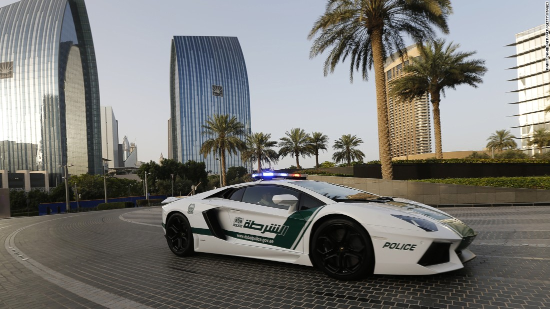 The Lamborghini Aventador was specially modified for the Dubai police, and has a top speed of 217 mph. It can reach 60 mph in just under three seconds.