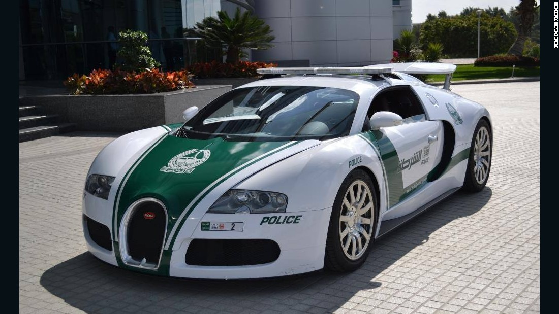 Dubai police's Bugatti Veyron has been certified by Guinness World Records as the fastest police car in service. This bad boy has a top speed of  253 mph and can go from 0 to 60 mph in 2.5 seconds.