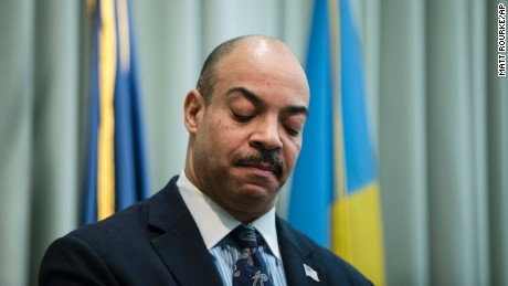 FILE -- In this Feb. 10, 2017, file photo, Philadelphia District Attorney Seth Williams speaks during a news conference in Philadelphia. A law enforcement official with direct knowledge of the investigation says the FBI and IRS will announce corruption charges Tuesday, March 21, 2017, against Williams. The charges come after a lengthy investigation into $160,000 in gifts that Williams failed to report, including a new roof, a $2,700 couch and luxury vacations. (AP Photo/Matt Rourke, File)