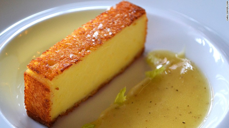 Alléno Paris: What looks like a lemon brioche loaf is an incredible pike dish.
