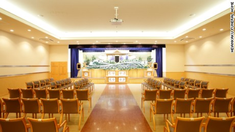The interior of one of Heiankaku's funeral halls. The company is offering a discount on its services to elderly drivers who give up driving.