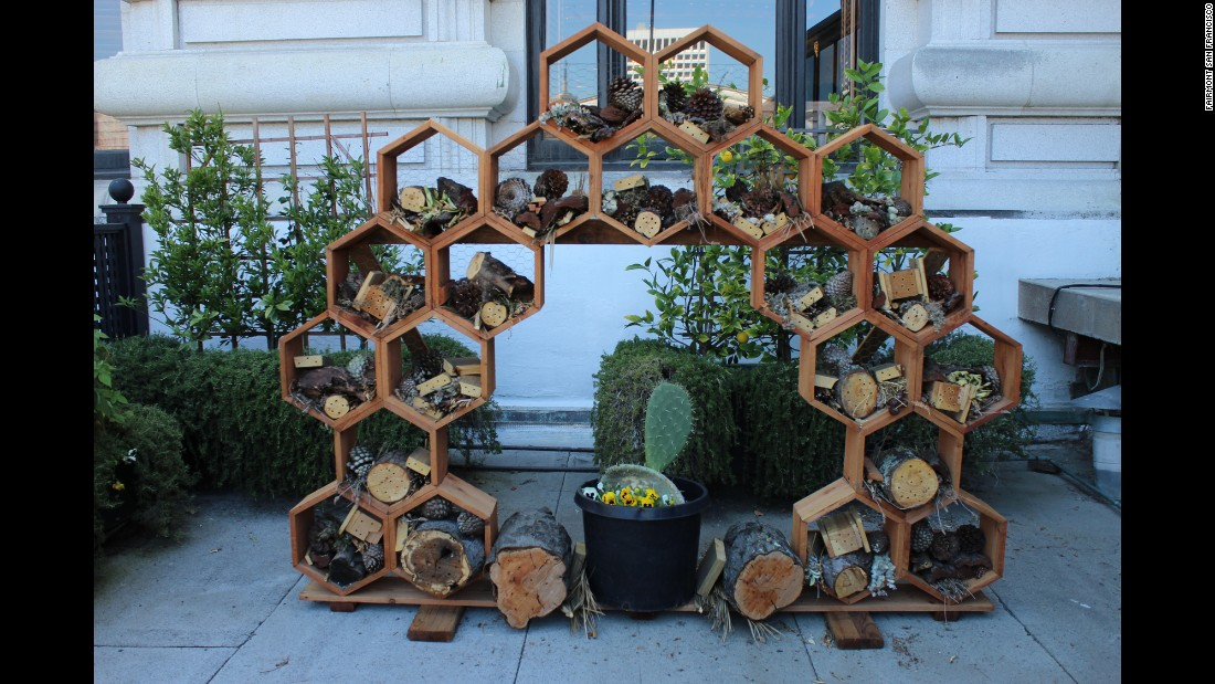 <strong>Fairmont San Francisco, California</strong>. The star of the Fairmont's rooftop garden is the wild bee hotel, a wooden structure that gives bees a place to nest and provides honey for the hotel's infused drinks and afternoon tea.