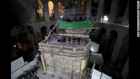 As part of the restoration project, members of the National Technical University of Athens removed steel girders which had encased the shrine for the past 70 years.