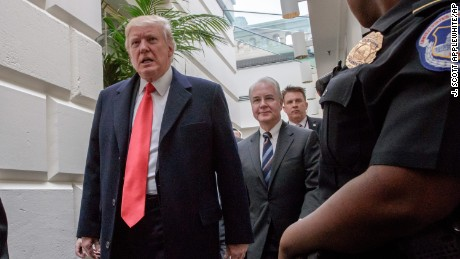 President Donald Trump, followed by Health and Human Services Secretary Tom Price, far right, leaves Capitol Hill in Washington, Tuesday, March 21, 2017, after rallying support for the Republican health care overhaul with GOP lawmakers. (AP Photo/J. Scott Applewhite)