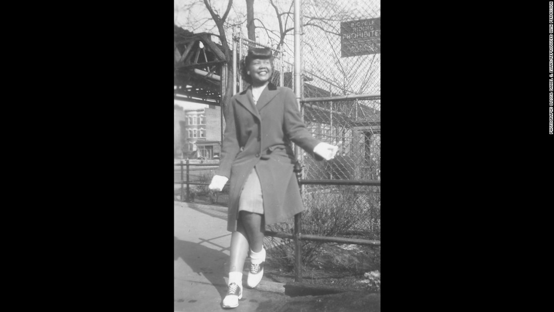 Laura Fitzpatrick poses in Brooklyn, New York, in the early 1940s. She was 16 at the time, said her son Dan Evans. From 1938-1948, Fitzpatrick photographed her friends and neighbors in Brooklyn and kept a detailed scrapbook of 500 photographs. Her remarkable photos, unseen by the public for years, are now part of the National Museum of African American History and Culture.