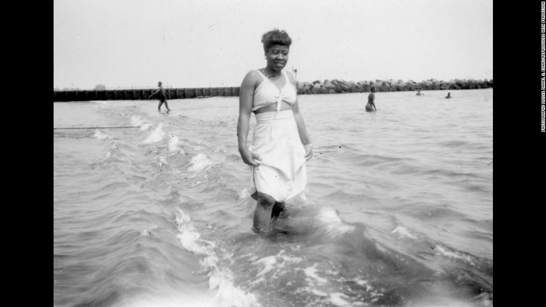 "One of Fitzpatrick's friends, Lula, swims at Coney Island in 1945. Fitzpatrick's scrapbook is part of a museum exhibit called <a href=""https://nmaahc.si.edu/everyday-beauty"" target=""_blank"">""Everyday Beauty,""</a> which looks at African-American history and culture over the last 100 years."