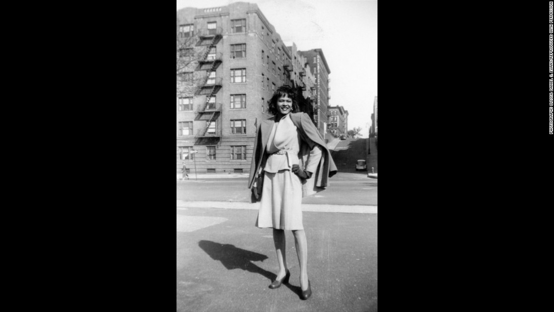"One of Fitzpatrick's friends is seen in front of a building at Riverside Park in Harlem. Evans said his mother was born in Montgomery, Alabama, and moved to New York when she was 10 years old. She started taking photos when she was 11, using an <a href=""http://camerapedia.wikia.com/wiki/Agfa_Billy_Record"" target=""_blank"">Agfa Billy camera</a> her mother bought her."