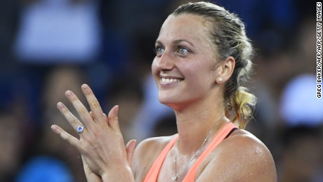 Petra Kvitova of the Czech Republic celebrates after winning her third round match against Angelique Kerber of Germany at the WTA Wuhan Open tennis tournament in Wuhan, in China's central Hubei province on September 28, 2016. / AFP / GREG BAKER        (Photo credit should read GREG BAKER/AFP/Getty Images)