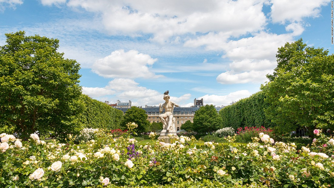 "<strong>Blooming Palais Royal: </strong>The manicured lime trees and compact rose garden tucked within the arcades of the Palais Royal, near the Louvre Museum, is a favorite of Adrian Leeds, Paris property consultant and star of HGTV's ""House Hunters International."""