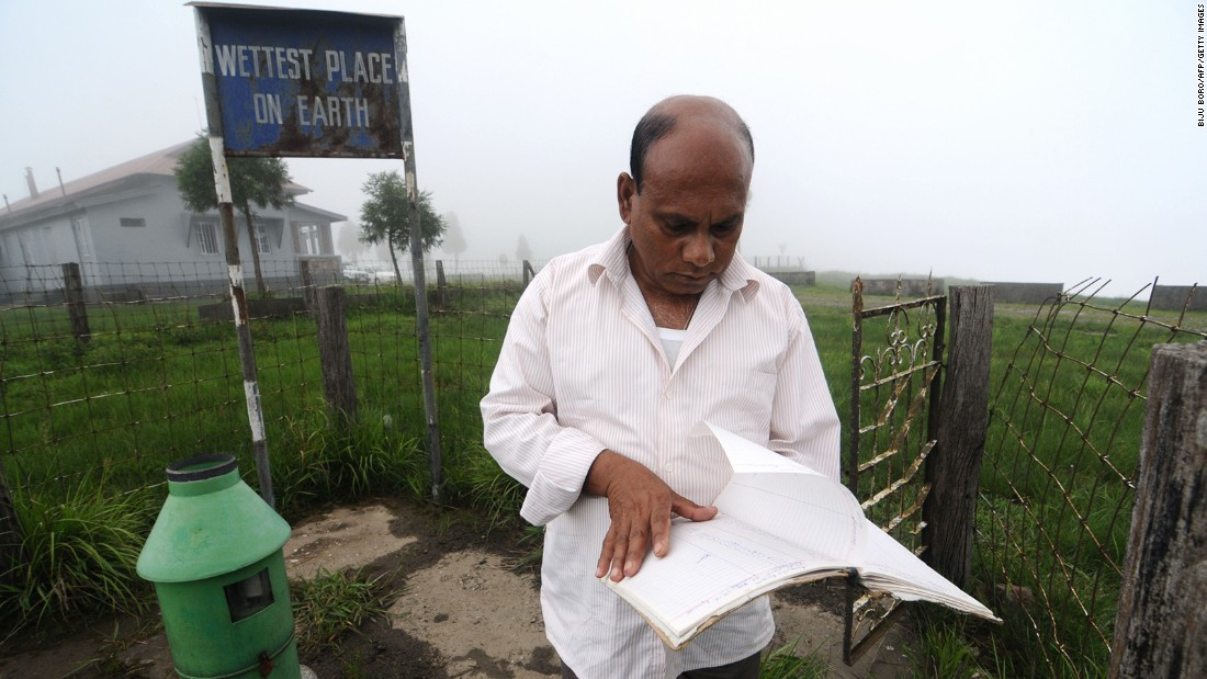 <strong>Wettest place on Earth: </strong> Ramkrishna Sharma is in charge of rain measuring at Mawsynram village, officially one of the two wettest places on the planet.