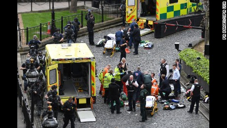 3/22/2017 - Emergency services at the scene outside the Palace of Westminster, London, after policeman has been stabbed and his apparent attacker shot by officers in a major security incident at the Houses of Parliament. (Photo by PA Images/Sipa USA)