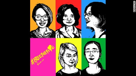 An illustration by Badiucao of five young feminists jailed in Beijing in 2015