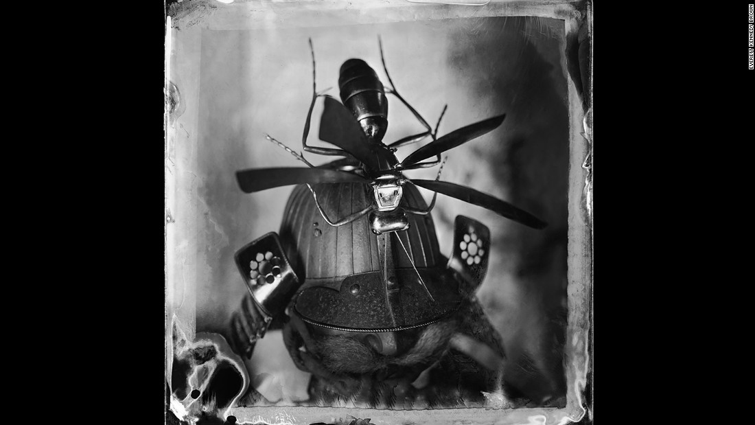 A samurai helmet captured in one of Brown's photographs.