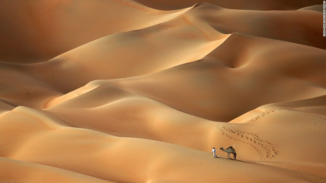 <strong>Hameem desert, United Arab Emirates: </strong>A man guides his camels across the Hameem desert, around 170 kilometers (about 106 miles) west of Abu Dhabi.
