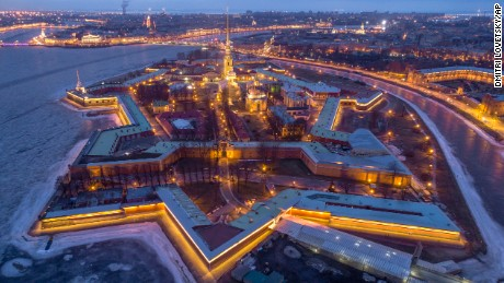 An aerial view of the Saint Peter and Paul Fortress at Zayachiy (Hare) Island in St.Petersburg, Russia, Tuesday, March 14, 2017. (AP Photo/Dmitri Lovetsky)