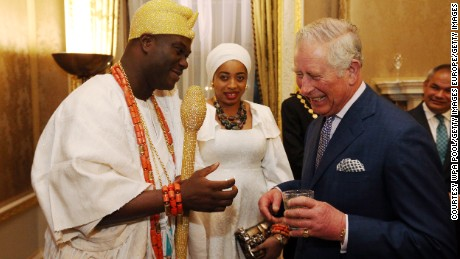 The Ooni of Ife and his wife meet with Prince Charles in London as he attends the annual Commonwealth Day Reception on March 13 2017.