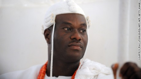 The Ooni of Ife, Oba Adeyeye Enitan Ogunwusi sits during his coronation at Ile-Ife, southwestern Nigeria, on December 7, 2015.