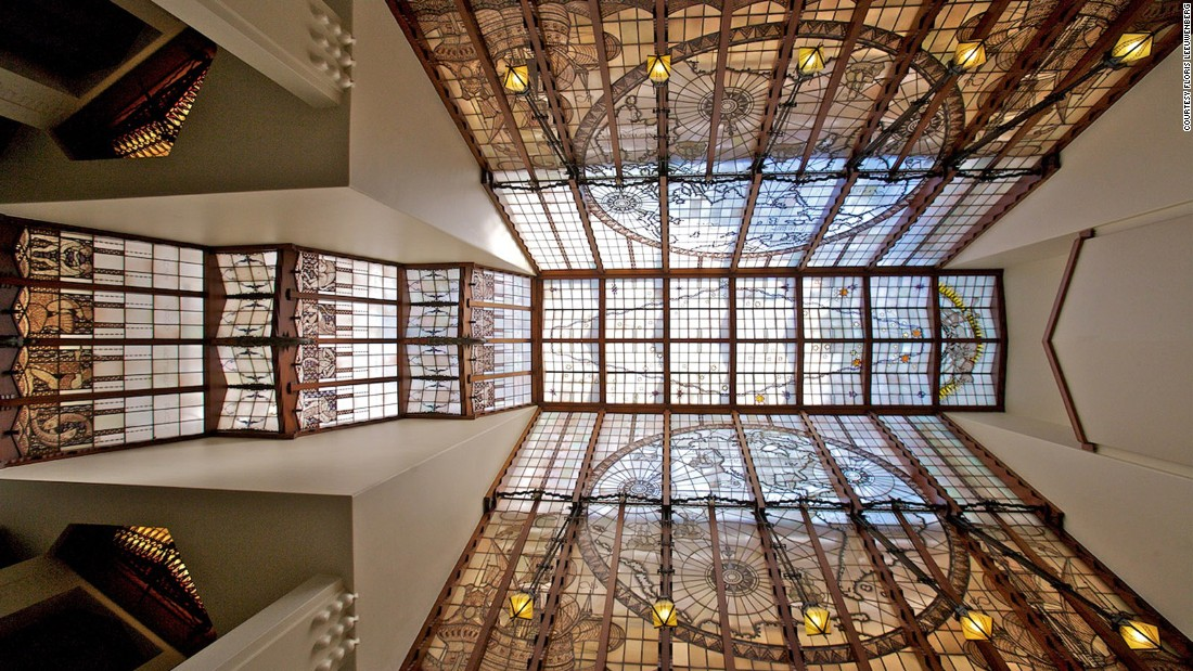 <strong>Grand Hotel Amrâth Amsterdam: </strong>The hotel pays tribute to its building's history with many maritime-themed designs -- including a stained glass ceiling with maps, astrological symbols and star constellations.
