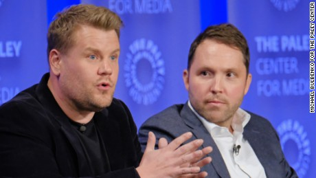 Host and Executive Producer James Corden and Executive Producer Rob Crabbe speak during a panel as part of PaleyFest LA 2017 at the Dolby Theatre on March 22, 2017 in Hollywood, California.