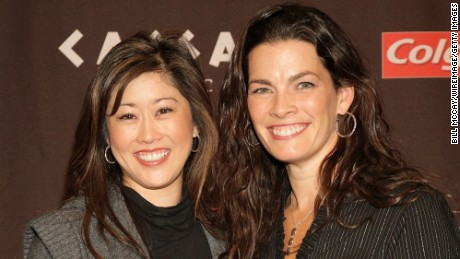 ATLANTIC CITY, NJ - DECEMBER 10:  (L-R) Kristi Yamaguchi and Nancy Kerrigan attend the press conference for The Caesars Tribute: A Salute to the Golden Age of American Skating at Caesars Hotel & Casino December 10, 2010 in Atlantic City, New Jersey.  (Photo by Bill McCay/WireImage)