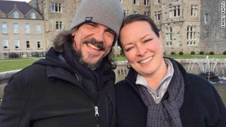 Kurt Cochran (left) was in London celebrating his 25th wedding anniversary with his wife Melissa (right).