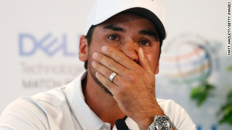 AUSTIN, TX - MARCH 22: Jason Day of Australia addresses the media during a press conference after withdrawing due to an illness in the family from round one of the World Golf Championships-Dell Technologies Match Play at the Austin Country Club on March 22, 2017 in Austin, Texas. (Photo by Matt Hazlett/Getty Images)
