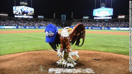 LOS ANGELES, CA - MARCH 22:  A Bald Eagle statue sits on the mound after the United States 8-0 win over team Puerto Rico during Game 3 of the Championship Round of the 2017 World Baseball Classic at Dodger Stadium on March 22, 2017 in Los Angeles, California.  (Photo by Jayne Kamin-Oncea/Getty Images)