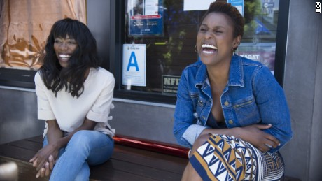 "Yvonne Orji, left, plays the best friend of ""Insecure"" star and creator Issa Rae on the HBO series."
