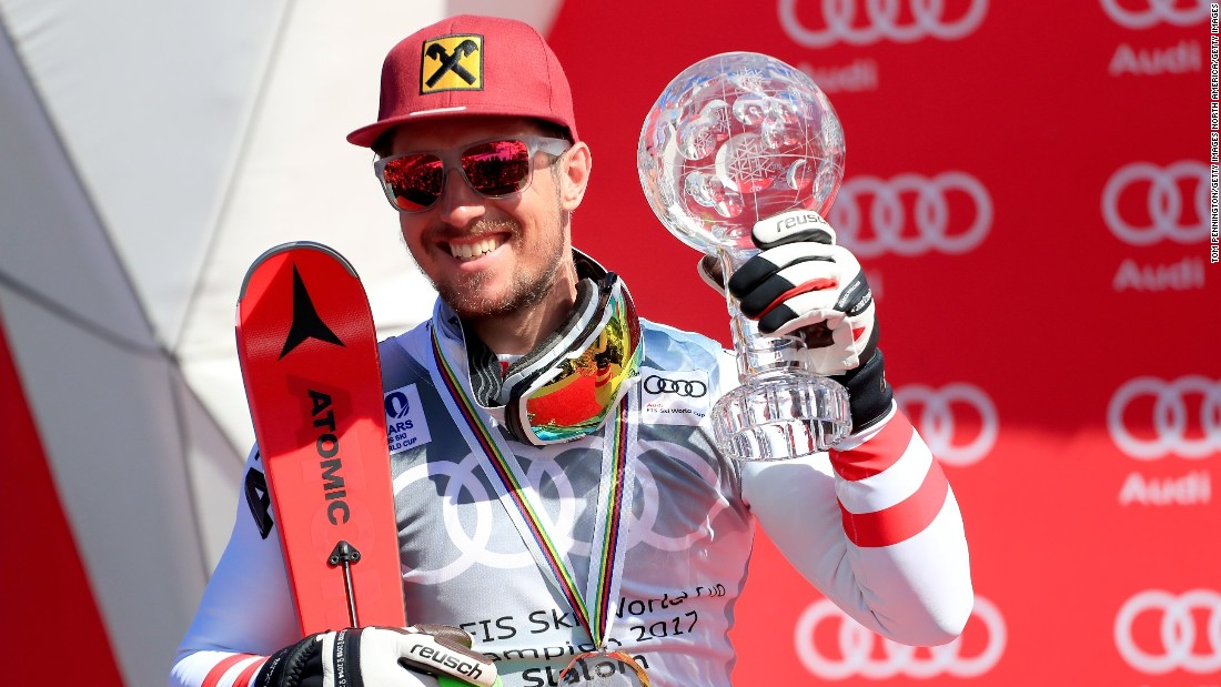 Hirscher went on to win the overall title in the men's competition and get his hands on skiing's coveted crystal globe