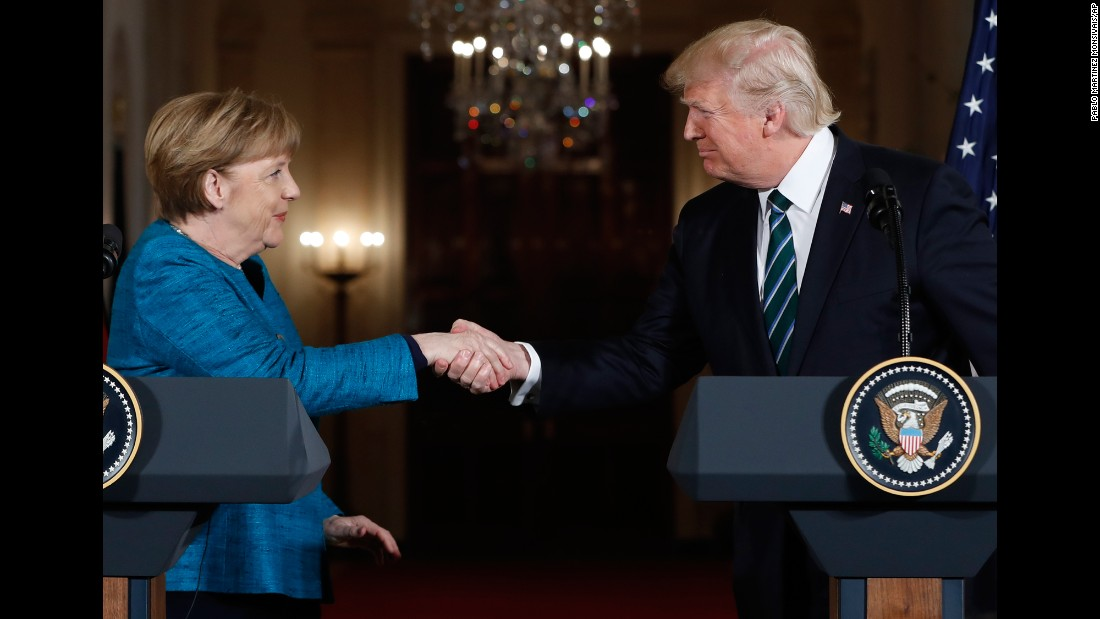 "President Donald Trump and German Chancellor Angela Merkel shake hands after their <a href=""http://www.cnn.com/2017/03/17/politics/donald-trump-angela-merkel/index.html"" target=""_blank"">joint news conference</a> at the White House in Washington on Friday, March 17. Merkel arrived in the nation's capital for <a href=""http://www.cnn.com/2017/03/16/politics/angela-merkel-donald-trump-washington-visit/index.html"" target=""_blank"">her first face-to-face encounter with Trump</a>, and the two discussed issues that included NATO, ISIS, and the ongoing conflict in Ukraine."