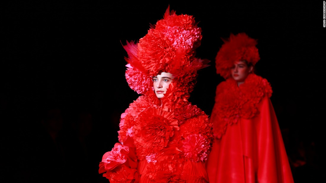 Models display creations by Tokuko Maeda during Fashion Week in Tokyo on Thursday, March 23.