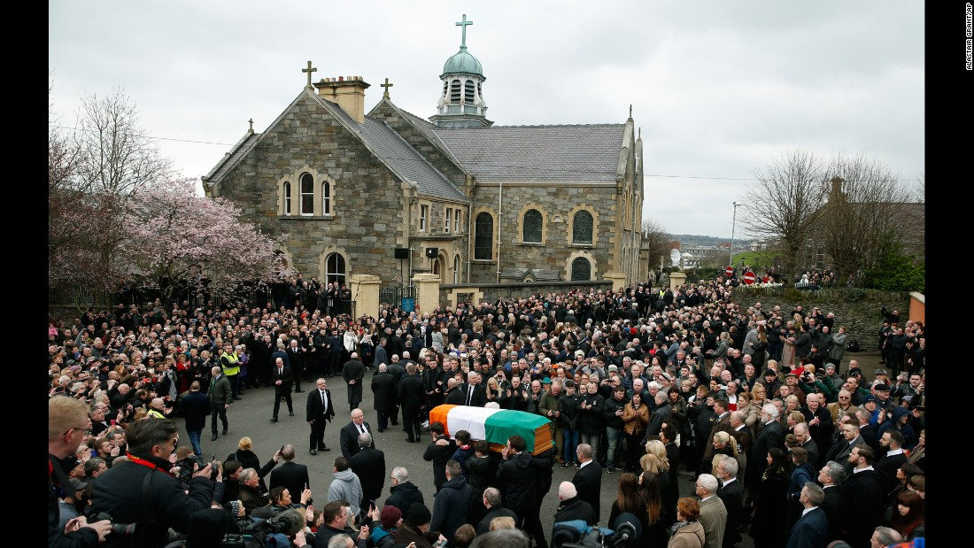 "The coffin of Martin McGuinness, the former Irish Republican Army commander and deputy first minister of Northern Ireland, is carried toward St. Columba's Church in Londonderry, Northern Ireland, on Thursday, March 23. McGuinness, 66, became <a href=""http://www.cnn.com/2017/01/19/world/martin-mcguinness-retires/"" target=""_blank"">Sinn Féin's chief negotiator</a> in Northern Ireland's peace process, and <a href=""http://www.cnn.com/2017/03/21/europe/martin-mcguinness-dead/"" target=""_blank"">worked with former US President Bill Clinton</a> on the 1998 Good Friday Agreement."