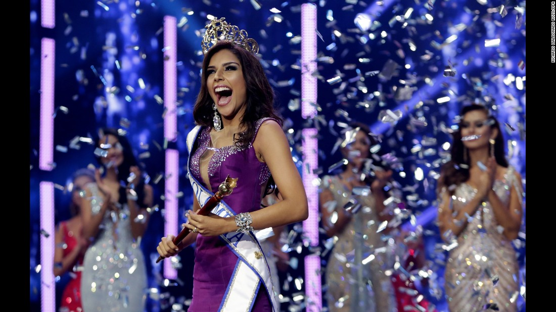Laura Gonzalez celebrates after being crowned Miss Colombia in a national beauty contest in Cartagena, Colombia, on Monday, March 20.
