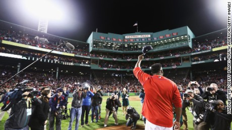 The Red Sox's David Ortiz after a game at Fenway Park in 2016.