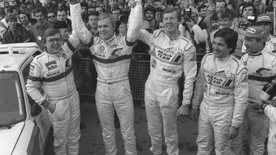 Ari Vatanen (second from left) celebrates after winning the 1985 Monte Carlo Rally. Vatanen won the 1981 World Rally Championship and the Paris Dakar Rally four times during the late 1980s and early 1990s.