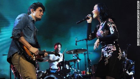 John Mayer and Katy Perry perform at Barclays Center of Brooklyn on December 17, 2013 in New York City.