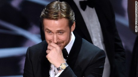 "FILE - In this Feb. 26, 2017, file photo, Ryan Gosling reacts as ""Moonlight,"" is announced as the actual winner of best picture at the Oscars in Los Angeles. It was originally announced that Gosling's film,  ""La La Land"" won best picture. (Photo by Chris Pizzello/Invision/AP, File)"