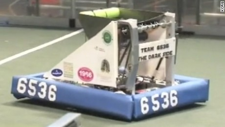 The Dark Side robot is steered by one of two students with sight on the team.