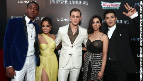 LOS ANGELES, CA - MARCH 22:  (L-R) Actors RJ Cyler, Becky G, Dacre Montgomery, Naomi Scott and Ludi Lin at The LA Premiere of Saban's Power Rangers presented by Lionsgate at Fox Bruin Theatre on March 22, 2017 in Los Angeles, California.  (Photo by Todd Williamson/Getty Images for Lionsgate)