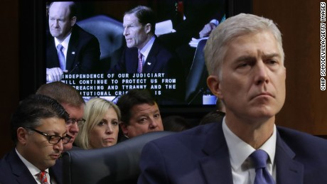 WASHINGTON, DC - MARCH 20:  Judge Neil Gorsuch listens to Sen. Richard Blumenthal (D-CT) deliver opening remarks during the first day of Gorsuch's Supreme Court confirmation hearing before the Senate Judiciary Committee in the Hart Senate Office Building on Capitol Hill March 20, 2017 in Washington, DC. Gorsuch was nominated by President Donald Trump to fill the vacancy left on the court by the February 2016 death of Associate Justice Antonin Scalia.  (Photo by Chip Somodevilla/Getty Images)