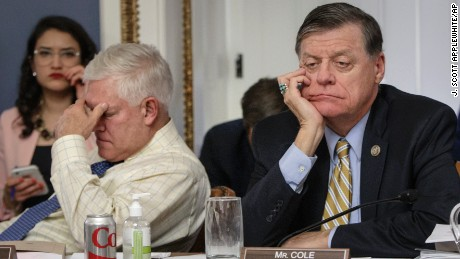 After eight hours of debate, House Rules Committee Chairman Rep. Pete Sessions, R-Texas, left, and Rep. Tom Cole, R-Okla., the vice-chair, listen to arguments from committee chairs as the panel meets to shape the final version of the Republican health care bill before it goes to the floor for debate and a vote, Wednesday, March 22, 2017, on Capitol Hill in Washington. (AP Photo/J. Scott Applewhite)