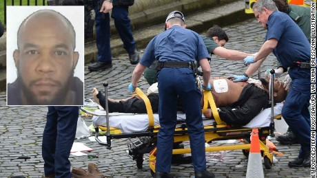 Inset: Officers from the Met's Counter Terrorism Command investigating the Westminster attack have released an image of Khalid Masood.  Underlay: March 22, 2017 - London, UK - Emergency services at the scene outside the Palace of Westminster, London, after policeman has been stabbed and his apparent attacker shot by officers in a major security incident at the Houses of Parliament. (Credit Image: © Stefan Rousseau/PA Wire via ZUMA Press)