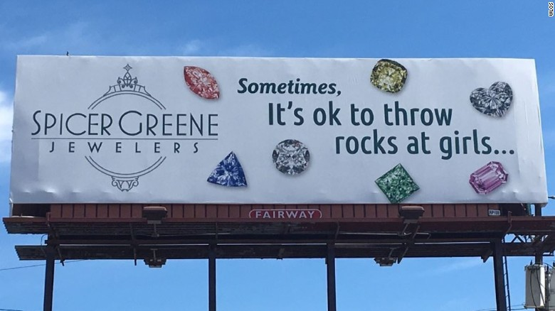 Jewelry store apologizes for billboard