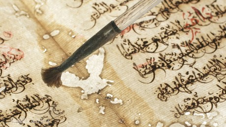 A manuscript under restoration.