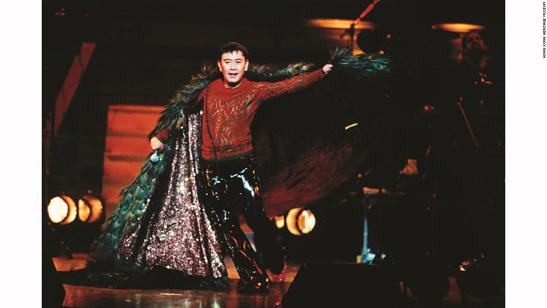Canto-pop icon Roman Tam wears his costume with peacock feathers during his farewell concert in 1996.