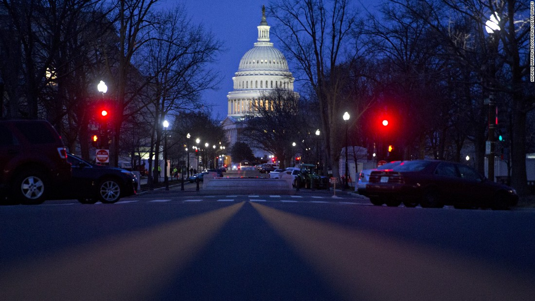 The Capitol building is seen before sunrise on Friday, March 24.