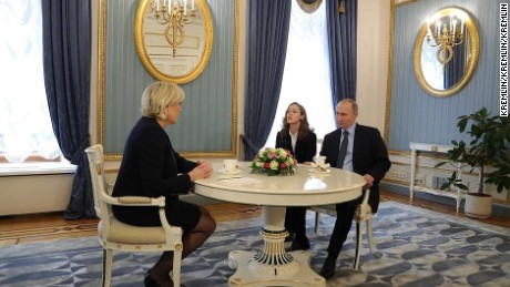 Russian President Vladimir Putin meets Marine Le Pen, French far-right candidate.