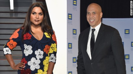 Mindy Kaling, actress (L), Senator Cory Booker (R)