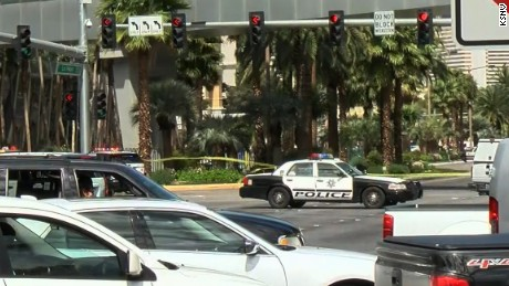 Police block off part of the Las Vegas strip because of a possible shooting on March 25.