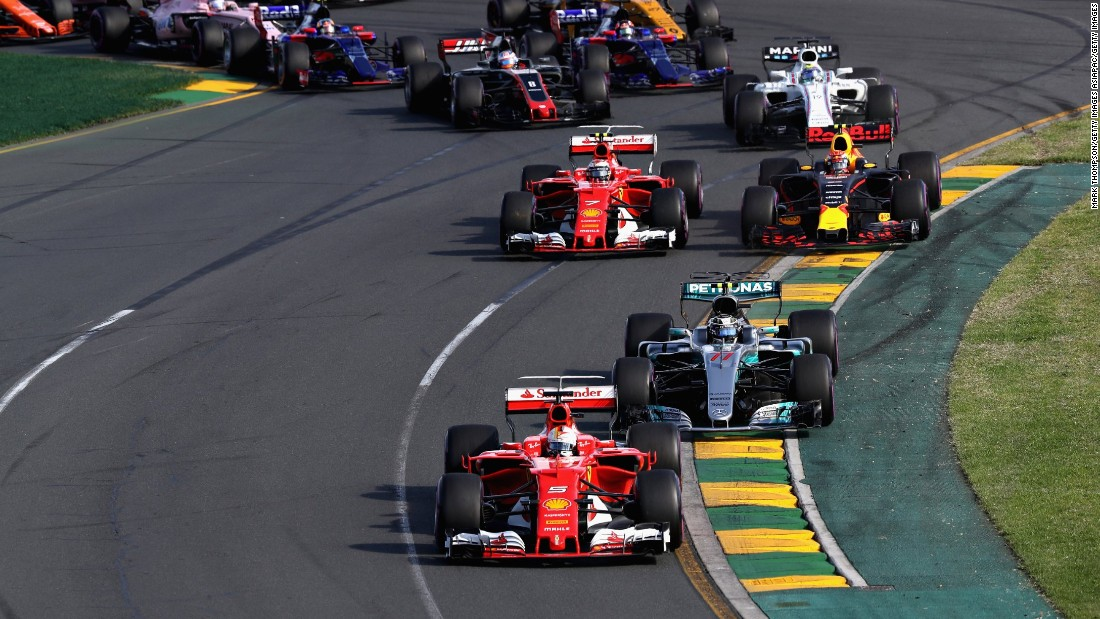 Vettel started second on the grid but overtook race leader Lewis Hamilton of Mercedes after 17 laps.
